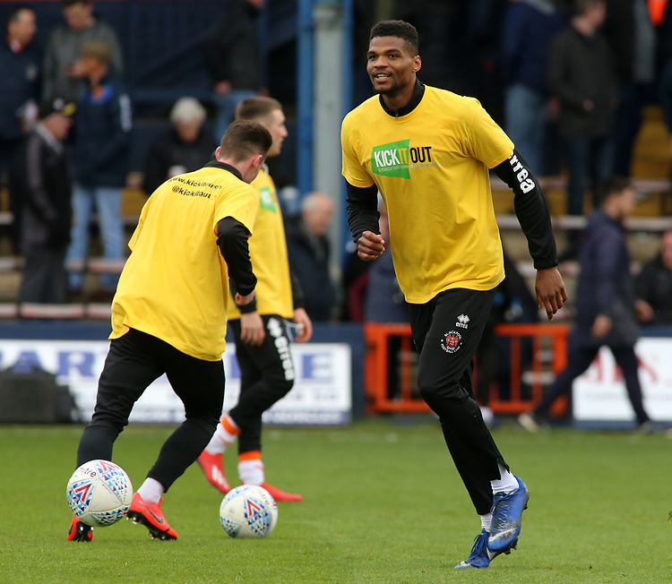 Blackpool's Michael Nottingham during the pre-match warm-up <br /> <br /> Photographer David Shipman/CameraSport<br /> <br /> The EFL Sky Bet League One - Luton Town v Blackpool - Saturday 6th April 2019 - Kenilworth Road - Luton<br /> <br /> World Copyright © 2019 CameraSport. All rights reserved. 43 Linden Ave. Countesthorpe. Leicester. England. LE8 5PG - Tel: +44 (0) 116 277 4147 - admin@camerasport.com - www.camerasport.com