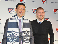 Philadelphia, PA - Thursday January 19, 2018: Justin Fiddes, Carl Robinson during the 2018 MLS SuperDraft at the Pennsylvania Convention Center.