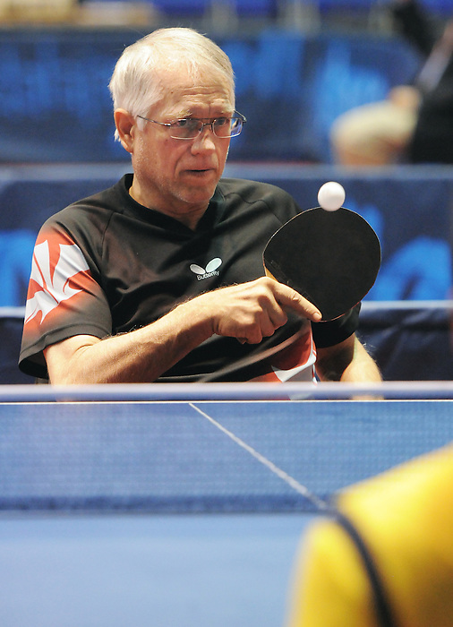 November 14 2011 - Guadalajara, Mexico: Barry Butler during his Table Tennis match at the 2011 Parapan American Games in Guadalajara, Mexico.  Photos: Matthew Murnaghan/Canadian Paralympic Committee