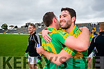 Declan O'Sullivan and Bryan Sheehan South Kerry players celebrate their victory over Kenmare in the County Senior Football Semi Final at Fitzgerald Stadium Killarney on Sunday.