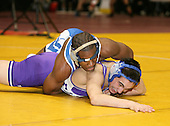 Cinque Mandela and Ryan Darch wrestle at the 152 weight class during the NY State Wrestling Championships at Blue Cross Arena on March 8, 2008 in Rochester, New York.  (Copyright Mike Janes Photography)