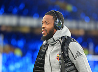 29th October 2019; Goodison Park, Liverpool, Merseyside, England; English Football League Cup, Carabao Cup Football, Everton versus Watford; Nathaniel Chalobah of Watford inspects the pitch prior to the match - Strictly Editorial Use Only. No use with unauthorized audio, video, data, fixture lists, club/league logos or 'live' services. Online in-match use limited to 120 images, no video emulation. No use in betting, games or single club/league/player publications