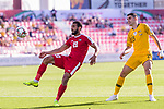 Mohammed Darwish of Palestine (L) in action as Tom Rogic of Australia (R) looks on during the AFC Asian Cup UAE 2019 Group B match between Palestine (PLE) and Australia (AUS) at Rashid Stadium on 11 January 2019 in Dubai, United Arab Emirates. Photo by Marcio Rodrigo Machado / Power Sport Images