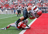 San Diego State Aztecs fullback Chad Young (40) scores after a catch against Ohio State Buckeyes linebacker Ryan Shazier (10) during the 3rd quarter of their college football game at Ohio Stadium in Columbus on September 7, 2013.  (Dispatch photo by Kyle Robertson)