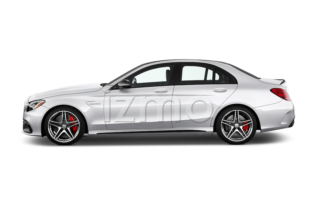 Car Driver side profile view of a 2016 Mercedes Benz C-Class AMG-C63-S 4 Door Sedan Side View