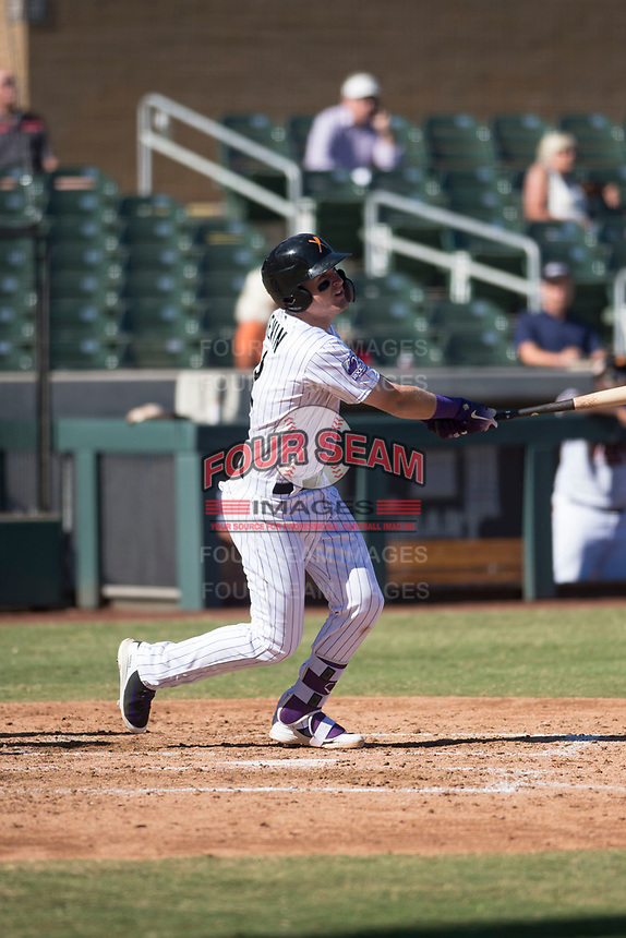 Salt River Rafters third baseman Tyler Nevin (2), of the Colorado Rockies organization, hits a double to right field during an Arizona Fall League game against the Glendale Desert Dogs at Salt River Fields at Talking Stick on October 31, 2018 in Scottsdale, Arizona. Glendale defeated Salt River 12-6 in extra innings. (Zachary Lucy/Four Seam Images)