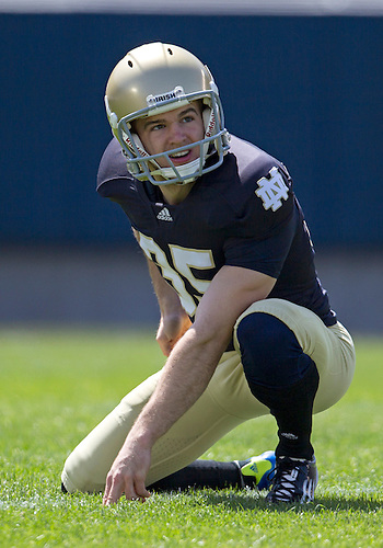 April 21, 2012:  Notre Dame Fighting Irish punter/holder  Ben Turk (35) in action during the Notre Dame Blue-Gold Spring game at Notre Dame Stadium in South Bend, Indiana.  The Defense topped the Offense by a score of 42-31.
