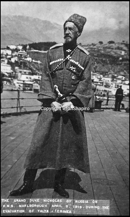 BNPS.co.uk (01202 558833)Pic: IanShapiro/BNPS<br /> <br /> Grand Duke Nicholas Nicolaievich ('Nicholasha') on board HMS Marlborough - 1919.<br /> <br /> A Russian Grand Duke branded King George V a 'scoundrel' who 'did not lift a finger' to save the Romanov family in the revolution there of 1917, explosive diaries have revealed.<br /> <br /> The cousin of the overthrown Russian Royal family blamed the British King for their executions because he failed to grant them refuge.<br />  <br /> Dmitri Pavlovich no-holds-barred diary extracts have been published for the first time in a new book by respected historian Coryne Hall, To Free The Romanovs.