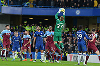 David Martin of West Ham United jumps and catches a cross during Chelsea vs West Ham United, Premier League Football at Stamford Bridge on 30th November 2019