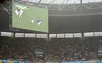 FUSSBALL WM 2014  VORRUNDE    GRUPPE G USA - Deutschland                  26.06.2014 Die Anzeigetafel zeigt verletzte Amerikaner und die 73. Minute, unser Foto zeigt den starken Regen