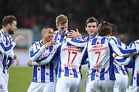 VOETBAL: HEERENVEEN: Abe Lenstra Stadion, 07-02-2015, Eredivisie, sc Heerenveen - PEC Zwolle, Eindstand: 4-0, Pele van Anholt (#5), Joost van Aken (#14), Marten de Roon (#15), Luciano Slagveer (#17), Simon Thern (#7), ©foto Martin de Jong