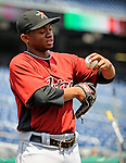 13 July 2008: Houston Astros' relief pitcher Wesley Wright warms up prior to a game against the Washington Nationals at Nationals Park in Washington, DC. The Astros shut out the Nationals 5-0 to take the rubber match of their 3-game series, as both teams head into the All-Star break and the second half of the 2008 season...Mandatory Photo Credit: Ed Wolfstein Photo