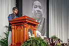January 21, 2019; Undergraduate Muhammad Abubakar Mian gives the invocation at the 2019 Martin Luther King Jr. Celebration Luncheon. (Photo by Matt Cashore/University of Notre Dame)