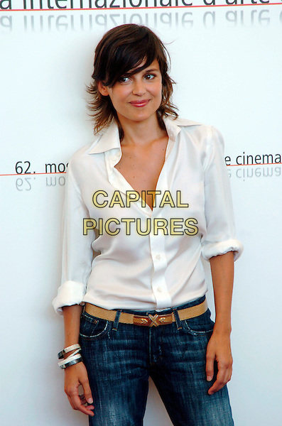 "ELENA ANAYA.Photocall for the film  ""Fragile"" at the 62nd Venice Film Festival.September 2nd, 2005.Ref: OME.half length white blouse.www.capitalpictures.com.sales@capitalpictures.com.© Capital Pictures."