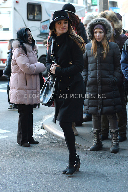 WWW.ACEPIXS.COM <br /> March 13, 2014 New York City<br /> <br /> Lea Michele shoots a scene for Glee In Chinatown on March 13, 2014 in New York City.<br /> <br /> <br /> <br /> Please byline: Kristin Callahan  <br /> <br /> ACEPIXS.COM<br /> Ace Pictures, Inc<br /> tel: (212) 243 8787 or (646) 769 0430<br /> e-mail: info@acepixs.com<br /> web: http://www.acepixs.com