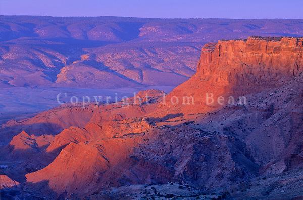Sunrise on Vermilion Cliffs on rim of Paria Plateau, Vermilion Cliffs National Monument, near Page, Arizona, AGPix_0273.