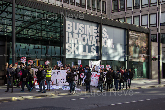"London, 07/02/2014. As part of the national week of action against the sell-off of the students' loans to private companies, ""The Student Assembly Against Austerity"" held a demonstration outside the Department of Business, Innovation and Skills (BIS). Previously, some students protested outside Senate House against the student who is on trial for 'chalking' (for more information: http://bit.ly/1ngI7pq)."