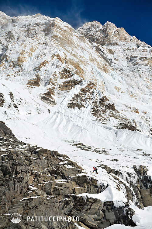 Ueli Steck returned to Nepal and the Annapurna south face in 2013 which he climbed solo, without oxygen, in one 28 hour alpine push, via a new route. The trip was his third attempt to climb the 8000 meter peak. Ueli on the lower section of the mountain, getting started with 2500 meters of alpine wall above him.