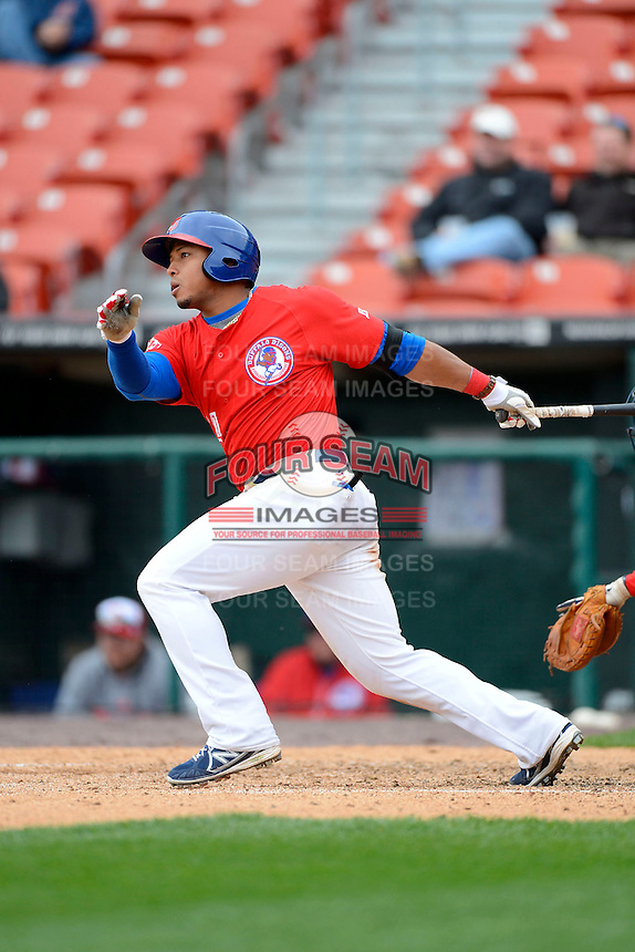 Buffalo Bisons outfielder Moises Sierra #14 during the second game of a doubleheader against the Pawtucket Red Sox on April 25, 2013 at Coca-Cola Field in Buffalo, New York.  Buffalo defeated Pawtucket 4-0.  (Mike Janes/Four Seam Images)