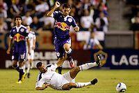 Rafael Marquez of the New York Red Bulls leaps over LA Galaxy forward Jovan Kirovski. The New York Red Bulls beat the LA Galaxy 2-0 at Home Depot Center stadium in Carson, California on Friday September 24, 2010.