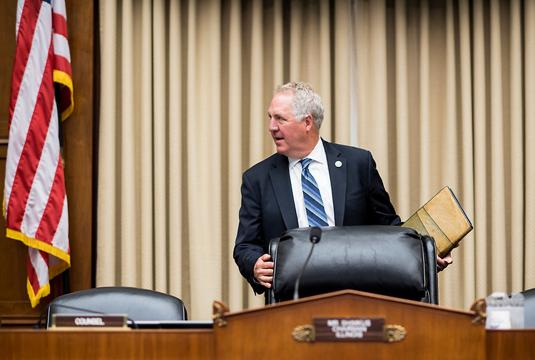 "UNITED STATES - APRIL 26: Rep. John Shimkus arrives to chair the House Committee on Energy and Commerce Subcommittee on Environment hearing on the ""Nuclear Waste Policy Amendments Act Of 2017"" on Wednesday, April 26, 2017. (Photo By Bill Clark/CQ Roll Call)"