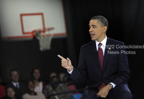United States President Barack Obama participates in an education town hall hosted by Univision Bell Multicultural High School , Washington, DC  .Credit: Dennis Brack / Pool via CNP