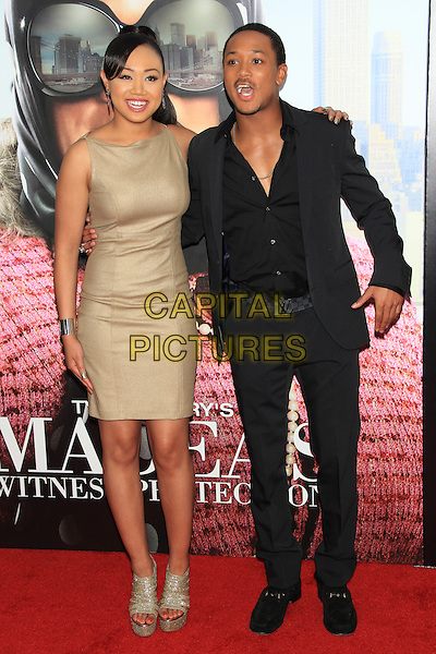 "Cymphonique Miller & Romeo Miller.The Premiere of ""Madea's Witness Protection"" held at AMC Loews Lincoln Square Cinemas, New York, NY., USA..June 25th, 2012.full length black suit shirt gold sleeveless dress brother sister siblings family .CAP/LNC/TOM.©LNC/Capital Pictures."