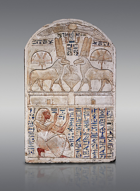 """Ancient Egyptian stele odedicated to Amon Re the """"good Ram"""" by foreman Baki, limestone, New Kingdom, 19th Dynasty, (1290-1213 BC), Deir el-Medina, Drovetti cat 1549. Egyptian Museum, Turin. Grey background. Reign of Ramesses II.<br /> <br /> This round-topped stele is carved in low relief and painted <br /> in several colours. The pictorial plane is divided into two <br /> registers, the upper one containing two rams facing each <br /> other. The animals, with cobras rising on their foreheads, <br /> wear tall headdresses composed of two tall plumes with a <br /> solar disk at the centre. Between them is a small offering <br /> table with lotus flowers. The mirror image hieroglyphic <br /> inscription refers to the rams and reveals their divine <br /> nature as that of Amun-Ra. In the register below, <br /> foreman Baki is shown in the pose of adoration."""