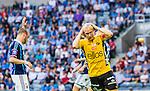 Stockholm 2014-07-07 Fotboll Allsvenskan Djurg&aring;rdens IF - IF Elfsborg :  <br /> Elfsborgs Johan Larsson tar sig f&ouml;r huvudet efter att ha missat en m&aring;lchans i den andra halvleken <br /> (Foto: Kenta J&ouml;nsson) Nyckelord:  Djurg&aring;rden DIF Tele2 Arena Elfsborg IFE depp besviken besvikelse sorg ledsen deppig nedst&auml;md uppgiven sad disappointment disappointed dejected