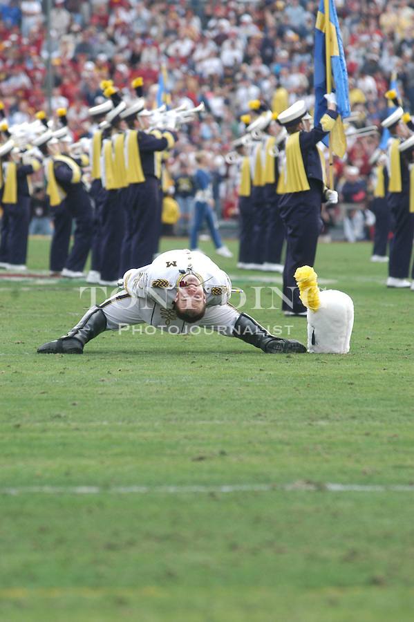 Michigan marching band drum major, senior Matt Cavanaugh, during the Wolverines' 14-28 loss to USC on Thursday, January 1, 2004 at the Rose Bowl in Pasadena, California. It was Michigan's 18th appearance at the Rose Bowl and the 90th game the bowl has played. (TONY DING/The Michigan Daily)