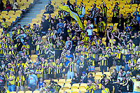 Fans celebrate Roy Krishna's opening goal during the A-League football match between Wellington Phoenix and Perth Glory at Westpac Stadium in Wellington, New Zealand on Saturday, 2 December 2018. Photo: Dave Lintott / lintottphoto.co.nz