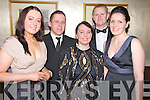 Enjoying the gala ball at the South Pole weekend in the Malton hotel, Killarney on Saturday night were Susan O'Donoghue, Eoin Seery, Sarah Clinton Seery, Alan Smith and Aoife Smith.