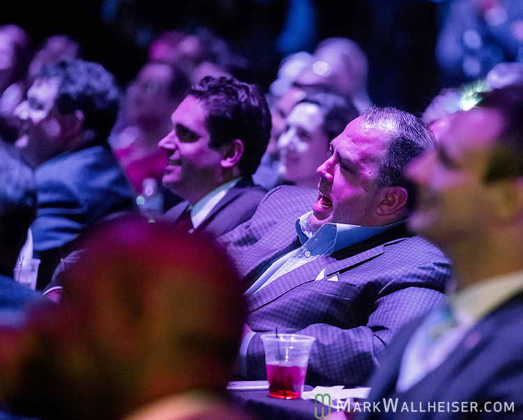 Peter Schorsch, center, with Extensive Enterprises Media, watches the 62nd Annual Press Skits 2017, The Crony Awards, sponsored by the Florida Capitol Press Corps, held at The Moon in Tallahassee, Florida March 14, 2017.  The funds raised go to the Barbara Frye Scholarship Fund supporting Florida journalism students attending Florida schools.