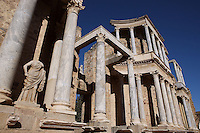 Scenae frons, built in 105 AD and restored between 333 and 335 AD, with sculptures of Persephone and Ceres in the distance; Replicas of the original sculptures dated 1st Century AD, in safe custody at the National Museum of Roman Art since 1986; Roman Theatre, built in 16 - 15 BC, promoted by Marcus Vipsanius Agrippa (63 BC-12 BC), Merida (Augusta Emerita, Capital of Hispania Ulterior), Extremadura, Spain