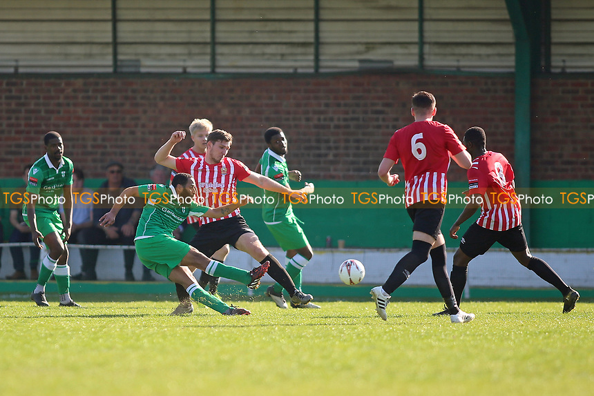 Michael Spencer of Waltham Abbey gets in a shot during Waltham Abbey vs AFC Hornchurch, Ryman League Division 1 North Football at Capershotts on 8th April 2017