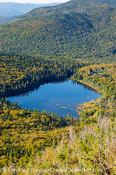 Franconia Notch State Park - Lonesome Lake from Hi-Cannon Trail in the White Mountains, New Hampshire USA.
