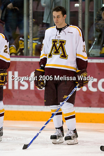 Jim O'Brien (University of Minnesota - Maplewood, MN) lines up. The University of Minnesota Golden Gophers defeated the Michigan State University Spartans 5-4 on Friday, November 24, 2006 at Mariucci Arena in Minneapolis, Minnesota, as part of the College Hockey Showcase.