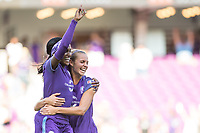 Orlando, FL - Sunday May 14, 2017: Chioma Ubogagu celebrates her first goal. Dani Weatherholt during a regular season National Women's Soccer League (NWSL) match between the Orlando Pride and the North Carolina Courage at Orlando City Stadium.