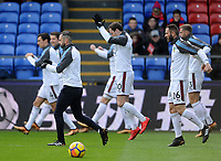Burnley players during the pre-match warm-up <br /> <br /> Photographer Ashley Crowden/CameraSport<br /> <br /> The Premier League - Crystal Palace v Burnley - Saturday 13th January 2018 - Selhurst Park - London<br /> <br /> World Copyright &copy; 2018 CameraSport. All rights reserved. 43 Linden Ave. Countesthorpe. Leicester. England. LE8 5PG - Tel: +44 (0) 116 277 4147 - admin@camerasport.com - www.camerasport.com