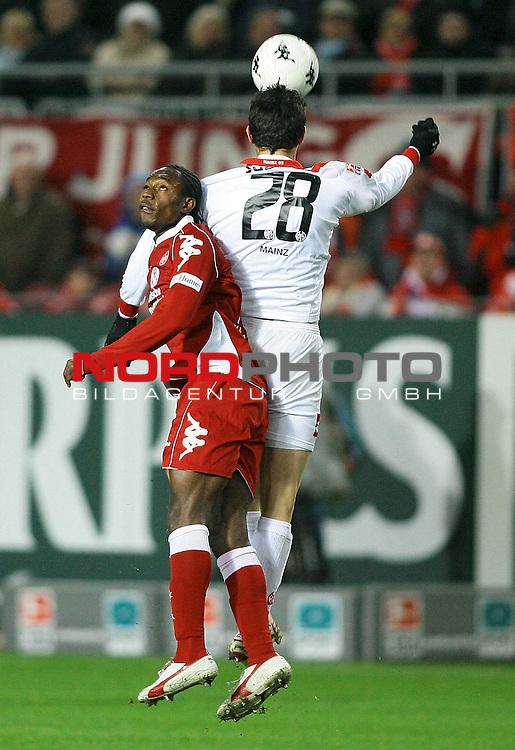 2. FBL, Saison 2007/08, 14. Spieltag, 1. FC Kaiserslautern vs. FSV Mainz 05.<br /> <br /> Emeka Opara (Kaiserslautern # 14) beim Kopfballduell mit Neven Subotic (Mainz # 28).<br /> <br /> Foto &copy; nph (  nordphoto  )<br /> <br />  *** Local Caption ***