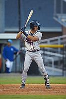 Beau Philip (4) of the Danville Braves at bat against the Burlington Royals at Burlington Athletic Stadium on August 9, 2019 in Burlington, North Carolina. The Royals defeated the Braves 6-0. (Brian Westerholt/Four Seam Images)