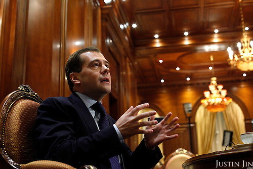 Russian President Dmitri Medvedev being interviewed at his official residence in Moscow.