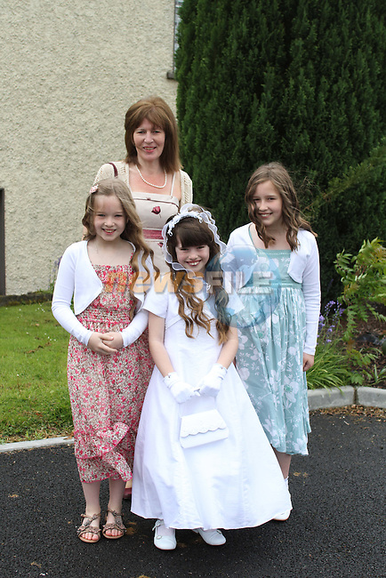 Jennifer Hickey at Slane NS Communion with Ellen, Eva and Diana...(Photo credit should read Jenny Matthews www.newsfile.ie)....This Picture has been sent you under the conditions enclosed by:.Newsfile Ltd..The Studio,.Millmount Abbey,.Drogheda,.Co Meath..Ireland..Tel: +353(0)41-9871240.Fax: +353(0)41-9871260.GSM: +353(0)86-2500958.email: pictures@newsfile.ie.www.newsfile.ie.