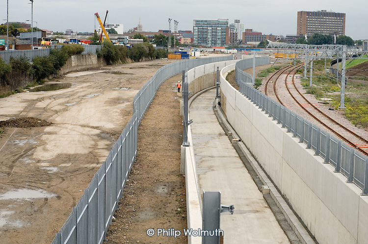 Partially completed route for the Channel Tunnel rail link at the entrance to the site of Stratford International station in east London.