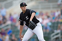 Kannapolis Intimidators starting pitcher Alec Hansen (30) in action against the Hickory Crawdads at Kannapolis Intimidators Stadium on April 22, 2017 in Kannapolis, North Carolina.  The Intimidators defeated the Crawdads 10-9 in 12 innings.  (Brian Westerholt/Four Seam Images)