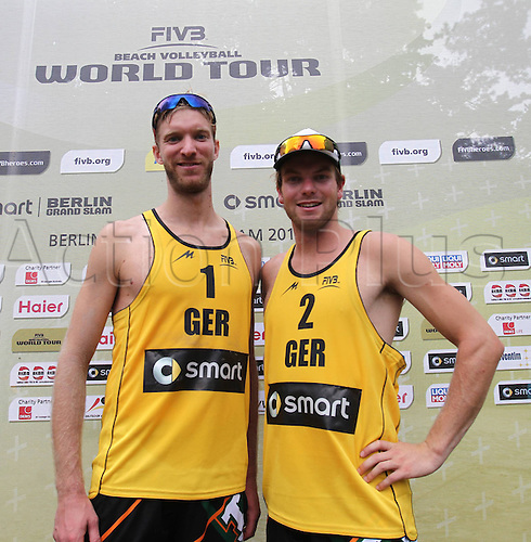 09.08.2013. Berlin, Germany. Berlin Smart Grand Slam Beach volleyball  Tournament FIVB Sebastian Dollinger ger left right Stefan Windscheif ger with the Victory in the Quarter-finals