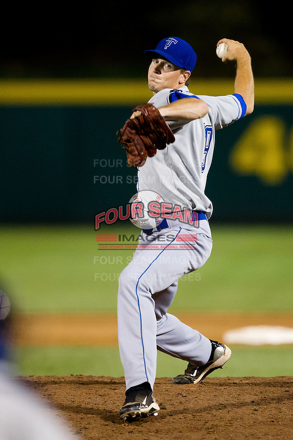 Stephen Dodson (19) of the Tulsa Drillers delivers a pitch during a game against the Springfield Cardinals at Hammons Field on July 18, 2011 in Springfield, Missouri. Tulsa defeated Springfield 13-8. (David Welker / Four Seam Images)