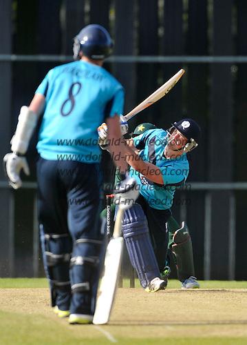 Scotland V Pakistan ODI - at Reaburn Place (Grange CC) Edinburgh - Scotland's Rob Taylor send one high and long - picture by Donald MacLeod - 17.05.13 - 07702 319 738 - clanmacleod@btinternet.com - www.donald-macleod.com