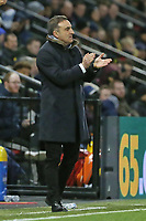 Swansea manager Carlos Carvalhal applauds his team from the touch line to the Premier League match between Watford and Swansea City at the Vicarage Road, Watford, England, UK. Saturday 30 December 2017