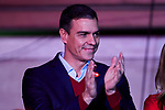 Prime Minister of Spain, Pedro Sanchez thanks supporters as they wave flags in the air outside of the PSOE (Spanish Socialist Workers Party) headquarters in Madrid. Spaniards go to the polls to elect 350 members of the parliament and 208 senators this Sunday. This will be the 14th General Election since the transition to democracy resulting in the Constitution of 1978. There are five main parties: the two traditional parties are the right-wing Partido Popular (People's Party) and the centre-left Partido Socialista Obrero Espanol or PSOE (Spanish Socialist Workerss Party), along with right-wing parties Ciudadanos (Citizens) and VOX and the left wing party, Podemos (We Can). November 11, 2019. (ALTERPHOTOS/A. Perez Meca)